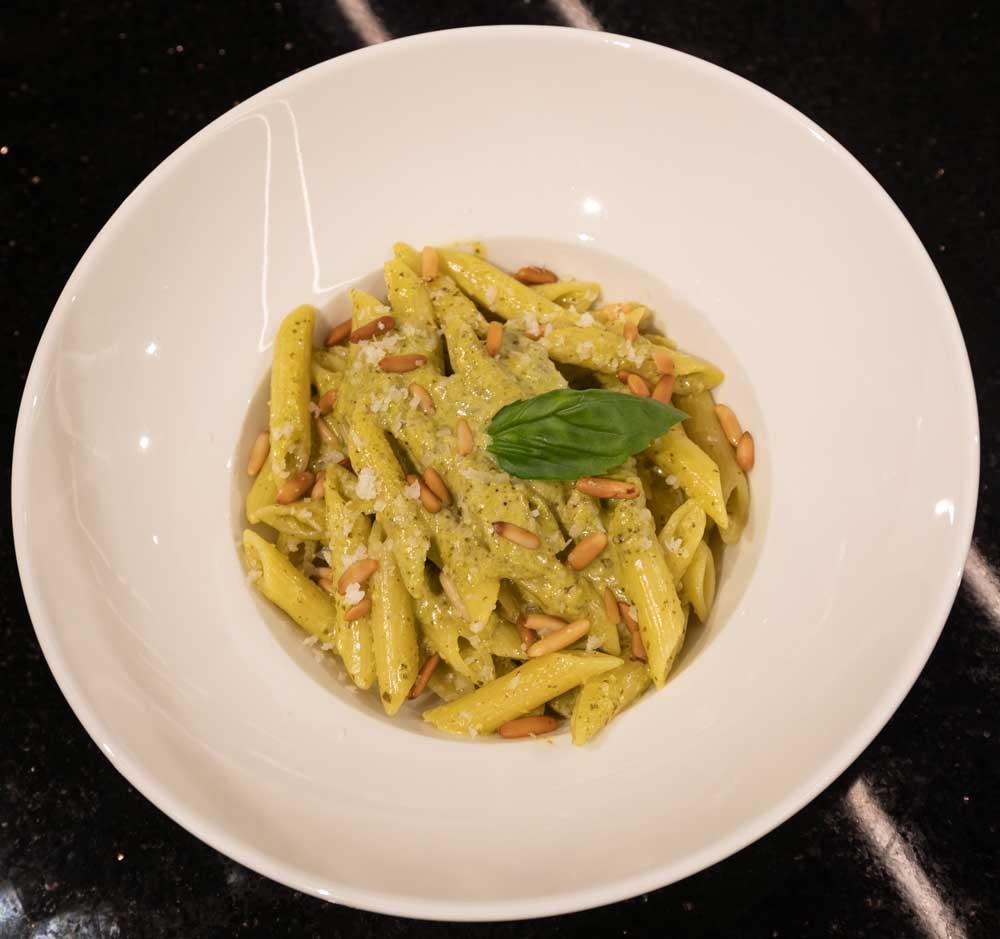 Pasta al pesto Penne pasta, Pesto sauce, Pine nuts, Parmesan cheese, Fresh basil