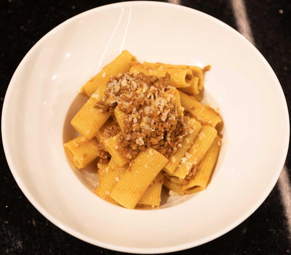 Pasta alla bolognese Rigatoni pasta, Beef ragù, Parmesan cheese